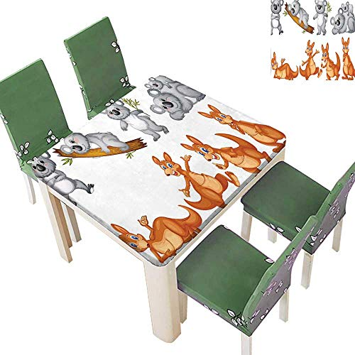 Polyester Tablecloths Australian Baby Kangaroos and Koala Bears in Different Positions Cute Creatures Art Print for Indoor and Outdoor Use 50 x 50 Inch (Elastic Edge)