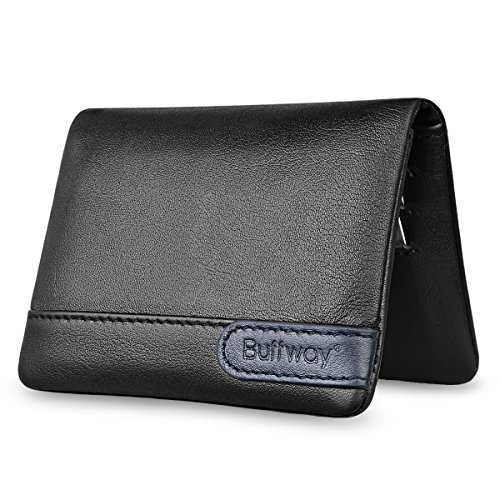 Buffway Mens RFID Blocking Slim Bifold Wallet - Minimalist Leather Small Wallets for Men with Cash Pocket and Card Holder Slots - Black