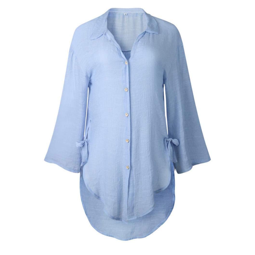 42a6a7f896a Luckycat Damen Loose Button Long Shirt Kleid Baumwolle Damen Casual Tops T-Shirt  Bluse Mode 2018  Amazon.de  Bekleidung
