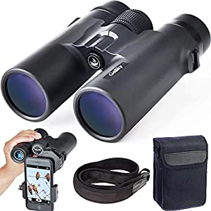 Gosky 10×42 Roof Prism Binoculars for Adults, HD Professional Binoculars for Bird Watching Travel Stargazing Hunting Concerts Sports-BAK4 Prism FMC Lens-with Phone Mount Strap Carrying Bag