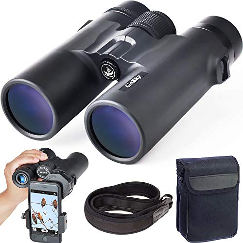 Gosky 10x42 Roof Prism Binoculars for Adults, HD Professional Binoculars for Bird Watching Travel Stargazing Hunting Concerts Sports-BAK4 Prism FMC Lens-with Phone Mount Strap Carrying Bag (Best Binoculars For Surveillance)