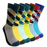 Mens Colorful Dress Socks Argyle - HSELL Men Multicolored Argyle Pattern Fashionable Fun Crew Socks 6 Pack