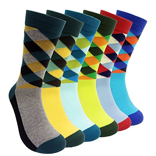 Mens Colorful Dress Socks Argyle - HSELL Men Multicolored Argyle Pattern Fashionable Fun Crew Socks 6 Pack -