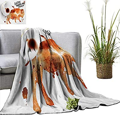 """homehot Coffee Art Blanket Sheets Conceptual Design with Inverted Americano Cup Strong Animal Bull Traveling,Hiking,Camping,Full Queen,TV,Cabin 40"""" Wx60 L Burnt Sienna Black White"""