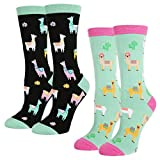 Search : Women's Novelty Crazy Crew Socks Cute llama Cotton Socks in Black Blue 2 Pack with Gift Box
