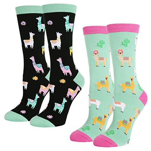 (Women's Novelty Crazy Crew Socks Cute llama Cotton Socks in Black Blue 2 Pack with Gift)