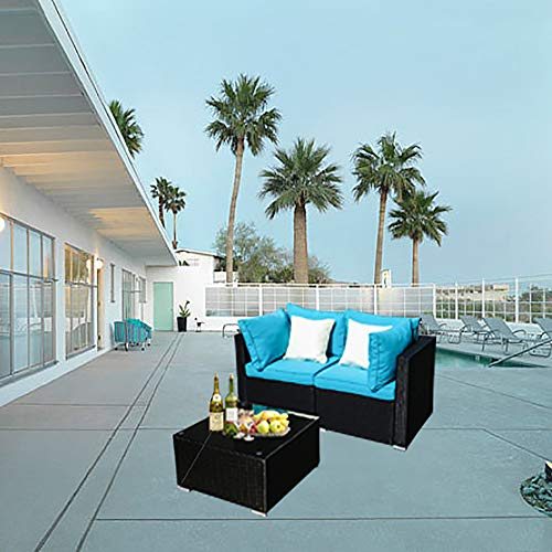 DOIT Outdoor Rattan Patio Garden Sofa,Wicker Patio Sectional Furniture Sofa Outside,Party Sofa,Conversation Set with Cushions and Glass Coffee Table (3 Pcs Wicker Sofa Sets(Blue))
