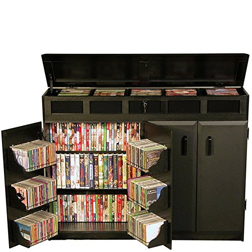 Top Media Storage Load - Venture Horizon Top Load Media Cabinet- Black