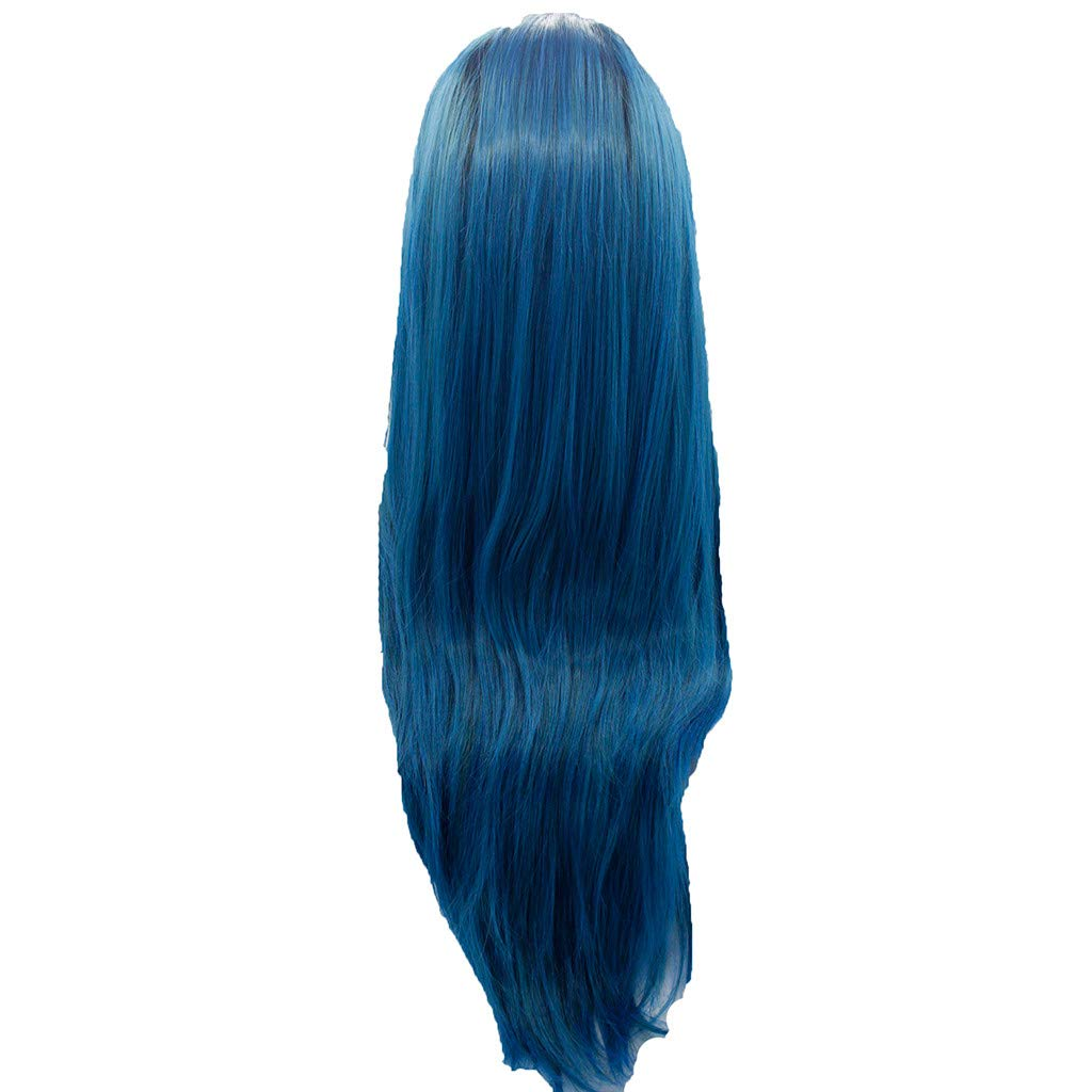 DDLmax Women's Fashion Front lace Wig Blue Synthetic Hair Long Wigs Wave Straight Wig by DDLmax