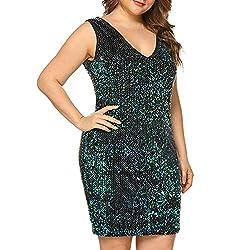 Plus Size V Neck Sleeveless Green Cocktail Dress