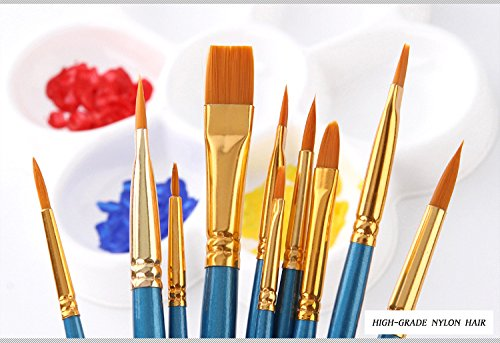Professional Artist Brushes ideal for Watercolors,Acrylics & Oils,for artists beginners and kids(10pcs)