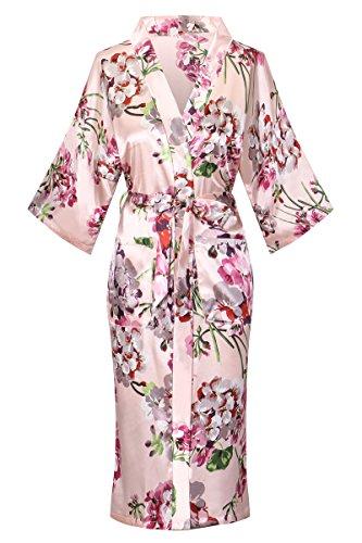 DandyChic Women's Kimono Robes Kimono Imitation Silk Sleepwear Long Lightweight Nightgown (Calf Robe Length)