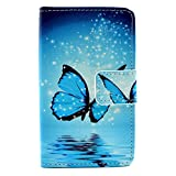 Lumia 435 Case, Enjoy Sunlight [Kickstand Feature] Luxury Wallet PU Leather Folio Wallet Flip Case Cover Built-in Card Slots for Microsoft Nokia Lumia 435 Case[Butterfly] with 1 Stylus Pen