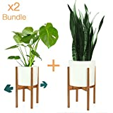 Fox & Fern Mid-Century Modern Plant Stand - Adjustable Width 8'' up to 12'' - Bamboo - Excluding White Ceramic Planter Pot - Set of 2