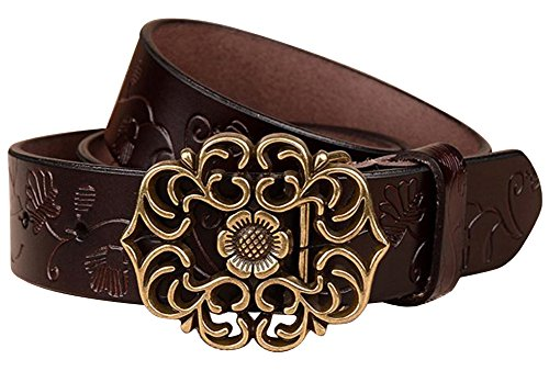 Normcorer Genuine Waist Belt Flower Buckle For Jeans And Dress – Free Hole Puncher (45.28
