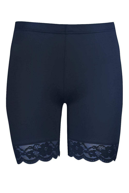 21Fashion Womens Scallop Lace Trim Cycling Shorts Ladies Gym Wear Jersey Hot Pants Biker Tights