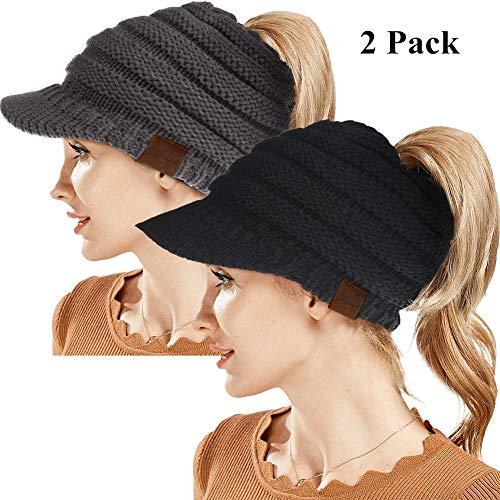 ZOORON Beanie Winter Hat for Women,Warm Stretch Cable Knit Beanie,High Bun Ponytail Beanie Hat Set of 2 (Black&Grey)