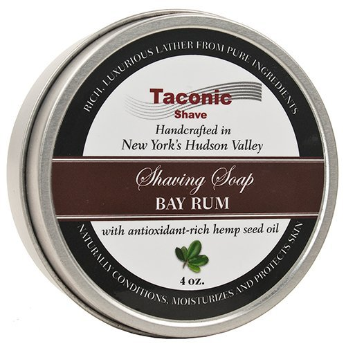 Taconic Shave Barbershop Quality Bay Rum Shaving Soap with Antioxidant-Rich Hemp Seed Oil Parker Safety Razor