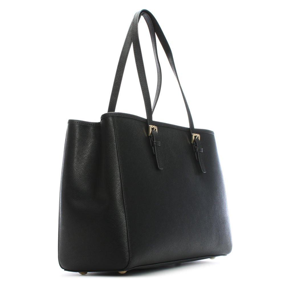 4b4c226e4c90 Michael Kors Black Jetset Travel Large Leather Tote Bag Black Leather   Amazon.co.uk  Shoes   Bags