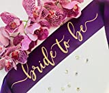 Bride To Be Sash Plum With Gold Glitter Font - Bachelorette Party Sash - Engagement Party Sash