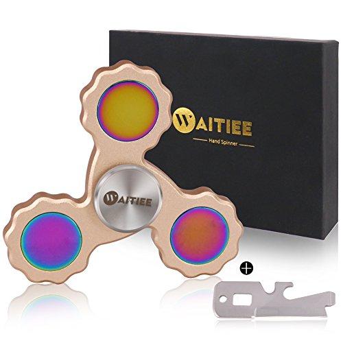 Waitiee Fidget hand Spinner High-Speed-Edelstahl-Kugellager 2 bis 5 Min Spin Zeiten Ideal zur Steigerung der Konzentration, Konzentration (golden)