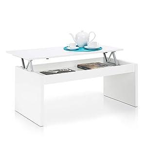 Habitdesign Mesa de Centro Elevable, Mesita Mueble Salon Comedor, Color Blanco Brillo, Modelo Zenit, Medidas 102 X 50 X 43/52 cm de Altura
