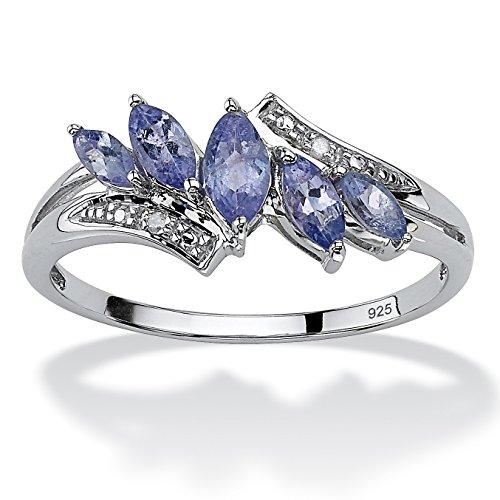 (Marquise-Cut Genuine Purple Tanzanite Diamond Accent Platinum over .925 Silver Ring Size)
