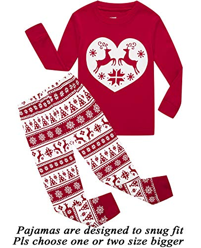 Girls Pajamas 100% Cotton Reindeer Toddler Clothes Kids Christmas Pjs Children Sleepwear Size -