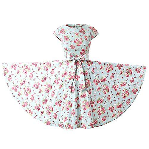 Floral Vestito Fiftieschic Maniche Corte Sera Mint Donna 4BBw8qY