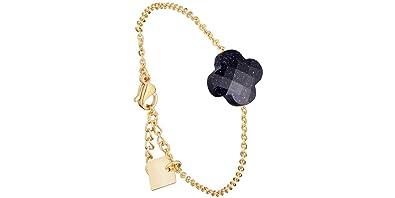 Zag Bijoux Bracelet chaîne trèfle, dorure Or Jaune, Bleu Nuit
