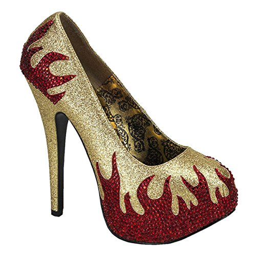Shoes For A Devil Costume (Womens Red Rhinestone Flame Shoes 5 3/4 In Heel Devil Pumps Black Gold Costume Size: 11 Colors: Gold)