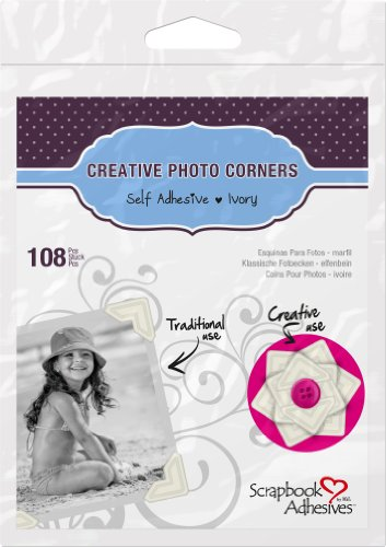 3L Scrapbook Adhesives Self-Adhesive Creative Paper Photo Corners, Ivory, 108-Pack (Ivory Scrapbooking Scrapbook)