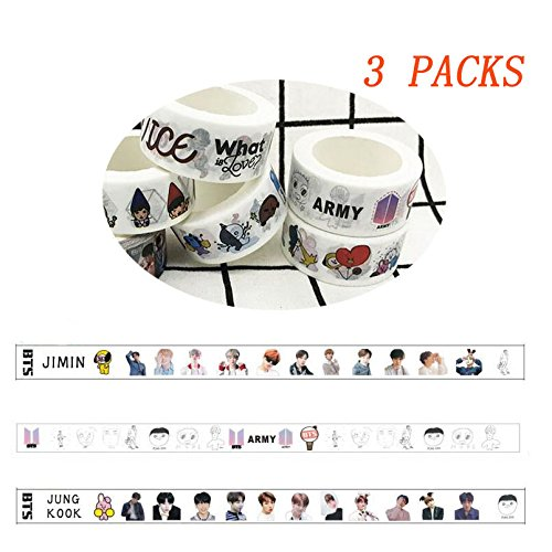 Pattern Washi Paper - 3 Rolls BTS Love Yourself 轉 'Tear' Washi Tape, BTS Pattern Masking Tape Sticky Paper Tape for A.R.M.Y, DIY, Decorative Craft, Gift Wrapping, Scrapbook (3 Rolls - B)