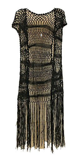 ong Fringe Crochet Vest Bikini Cover up Hippie Summer Beachwear ()