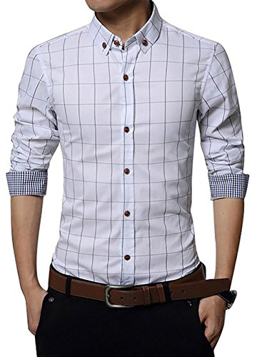 LOCALMODE Men's 100% Cotton Long Sleeve Plaid Slim Fit Button Down Dress Shirt, White, Large