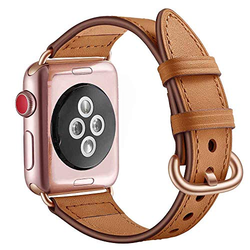 Fashion Women Leather Band Buckle Strap for Apple Watch 1/2/3 42mm (Brown)