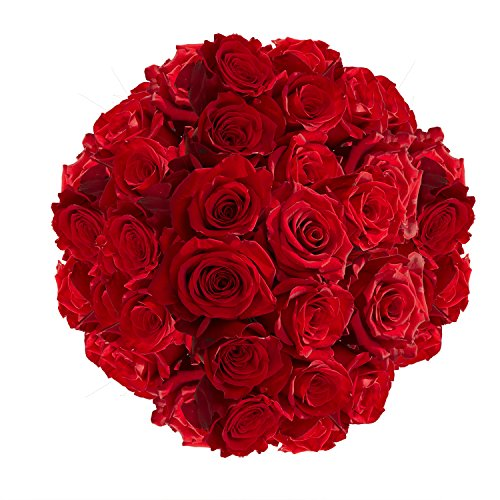 GlobalRose 100 Red Roses- Sweet Natural Bright Blooms- Next Day Flower Delivery