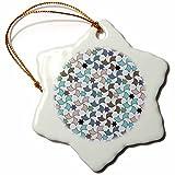 3dRose orn_56717_1 Blue Beige and Brown Spanish Windmills and Stars Geometric Muslim Art Mosaic Pattern Snowflake Porcelain Ornament, 3-Inch