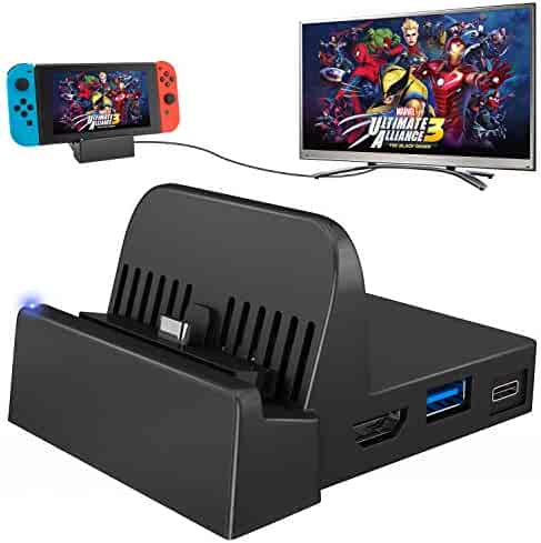 UKor Switch Dock, Portable Mini Switch TV Docking Station Charging Stand Replacement for Nintendo Switch Dock Set, Compact Switch to HDMI with Extra USB 3.0 Port (Upgraded Version)