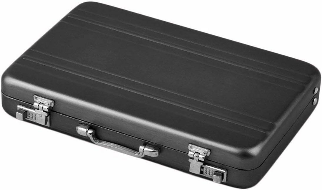 Farbe: schwarz Durable Ankunft Mini-Aktenkoffer-Visitenkarte-Kasten Identifikation-Halter Passwort Aluminiumkreditkartenhalter 96 x 82 x 16 mm