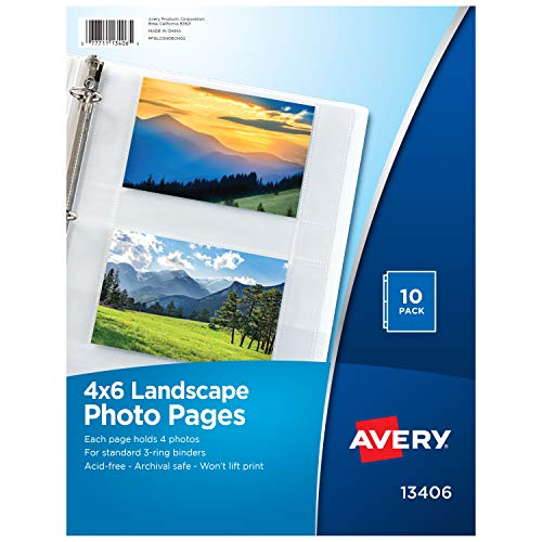 Avery Horizontal Photo Pages, Acid Free, 4 x 6 Inches, 10 photo pages (13406) (4 Ring Sheet Protector)
