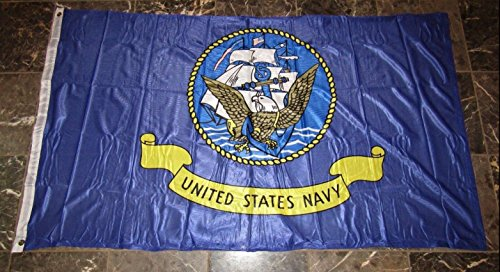 3x5 U.S. Navy Ship Emblem Seal Poly Nylon Knitted Flag 3'x5' Brass Grommets Vivid Color and UV Fade Resistant Canvas Header and polyester material