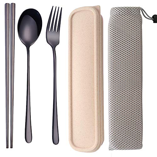 (3 PCS Stainless Steel Travel Camping Flatware Set Portable Fork Spoon Chopsticks with Case (black))