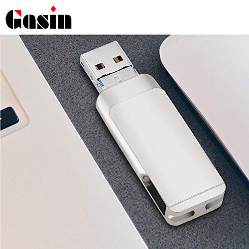 (Gasin iPhone USB Flash Drive,Memory Stick 360° Rotating Drive U Disk 8GB 16GB 32GB 64GB 128GB for iPhone/Android/Computer (16G, Silver))