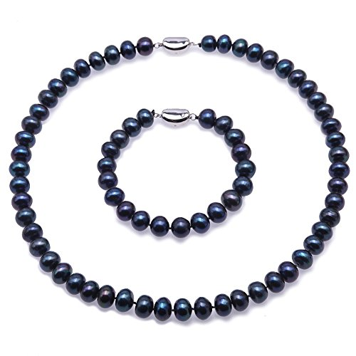 (JYX Pearl Necklace 8-9mm Dark-Purple Flat Cultured Freshwater Pearl Necklace and Bracelet Set)