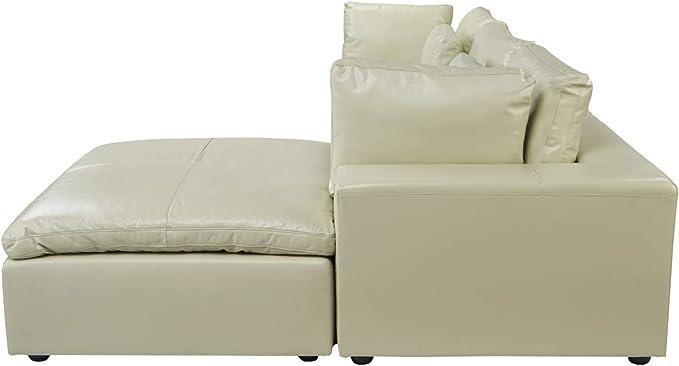 Amazon.com: Sofá esquinero tapizado de piel seccional, 111,8 ...
