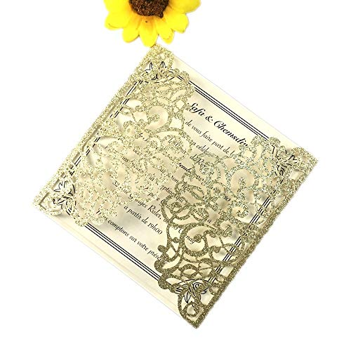 50 Sets Square Gold glitter Laser Cut Vintage Wedding Invitations Cards Hollow Floral Exquisite Carving Greeting invites cards 4 Engagement Birthday Bridal Show (light gold glitter)