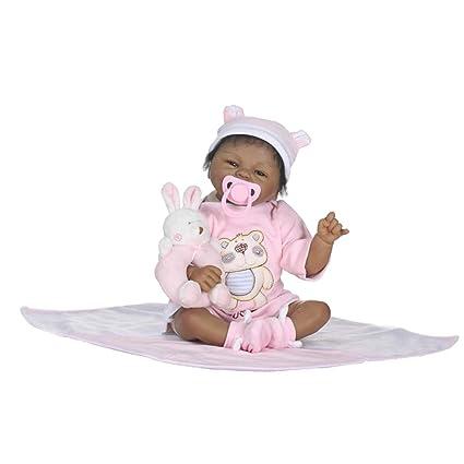 Amazon.com: Muñeca realista negra africana de bebé con pelo ...