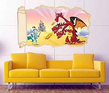 3D Wandtattoo Ritter Prinz Dreiköpfige Drache Kinderzimmer Tapete Wand  Aufkleber Wanddurchbruch Wandbild Wandsticker 11N1715, Wandbild