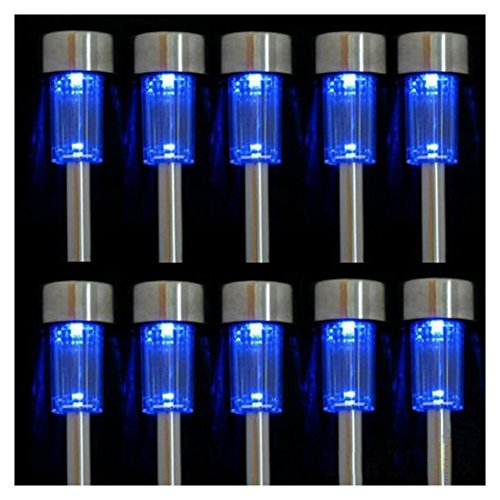 iPerb® 10pcs Blue LED Outdoor Steel Garden Solar Powered Landscape Light Lamp